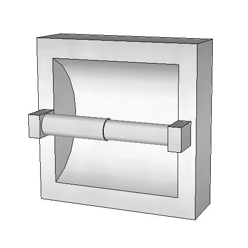 Britex Single Toilet Paper Dispenser (Recessed, No Hood, Bright Finish)