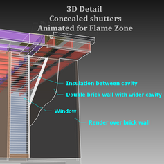 Flame Zone 3D Detail for concealed shutters in double brick or brick veneer