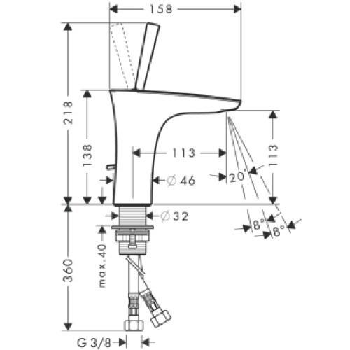 Hansgrohe PuraVida Single Level Basin Mixer 110, DN15