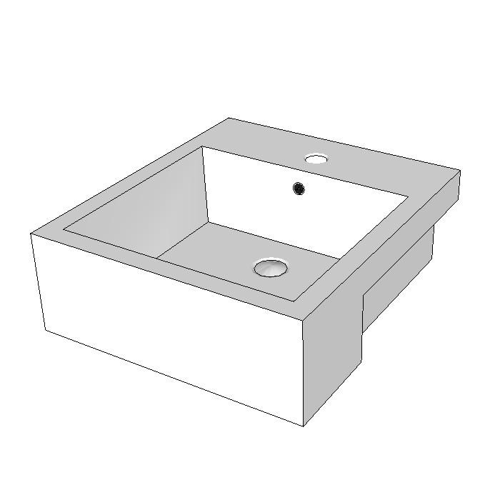 Azzurra Cube Semi-Recessed Basin